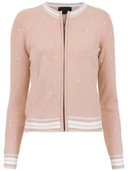 Andrea Bogosian Embroidered Cardigan Pink And Purple