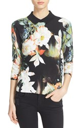 Women's Ted Baker London 'Demima' Opulent Bloom Collared Sweater