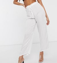 Akasa Exclusive Drawstring Waist Beach Trouser In White