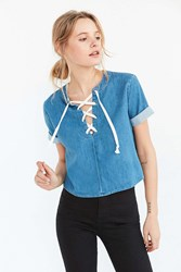 Bdg Tavi Lace Up Blouse Vintage Denim Medium