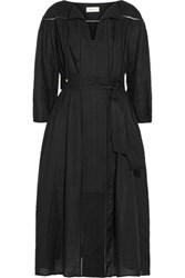 Zimmermann Empire Pointelle Trimmed Linen Dress Black