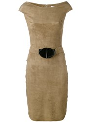Jitrois Belted Dress Women Cotton Lamb Skin Spandex Elastane 38 Nude Neutrals