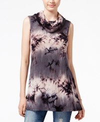 Say What Juniors' Tie Dyed Cowl Neck Tunic Black Tie Dye Combo