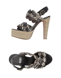 Michel Perry Platform Sandals Dark Brown