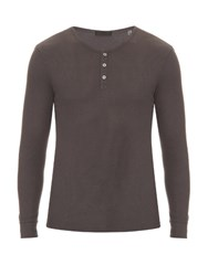 Atm Anthony Thomas Melillo Long Sleeved Cotton Blend Top Charcoal