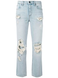 Alexander Wang Destroyed Cult Straight Leg Jeans Women Cotton 26 Blue