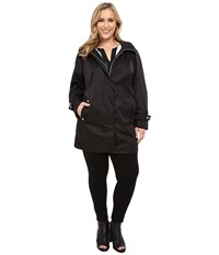 Calvin Klein Plus Plus Size Long Packable Anorak Black Women's Coat