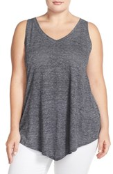 Sejour Plus Size Women's 'Triangle' Sheer Knit V Neck Tank Black