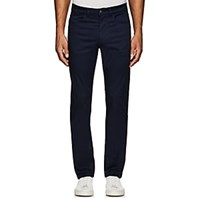 Luciano Barbera Stretch Cotton Flat Front Trousers Navy