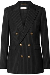 Saint Laurent Double Breasted Pinstriped Wool Blazer Black