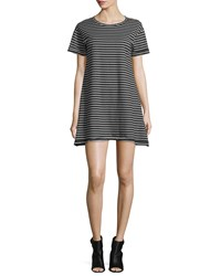 Current Elliott Short Sleeve Striped T Shirt Dress Black Multi