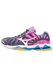 Mizuno Wave Tornado X Volleyball Shoes Peacoat White Pink Glo Blue