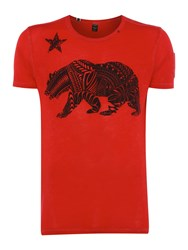 Replay Men's Printed T Shirt With Chest Pocket Red
