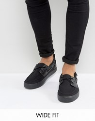 Asos Wide Fit Boat Shoes In Black Canvas Black