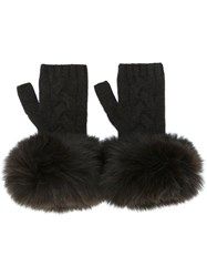 Yves Salomon Fur Trimmed Fingerless Gloves Brown