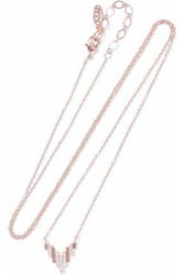 Astrid And Miyu Fitzgerald Pyramid 18 Karat Rose Gold Plated Crystal Necklace Rose Gold