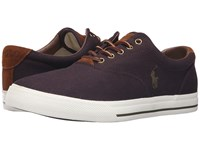 Polo Ralph Lauren Vaughn Purple Canvas Sport Suede Men's Lace Up Casual Shoes Brown