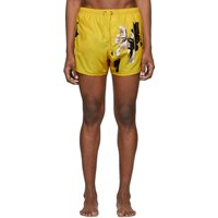 Neil Barrett Yellow Flowers Swim Shorts