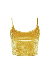 Topshop Petite Crushed Velvet Camisole Top Gold