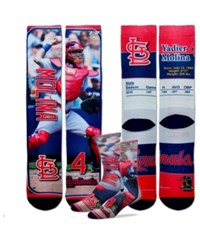 For Bare Feet Yadier Molina St. Louis Cardinals Trading Card Player Crew Socks Red