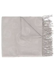 Emporio Armani Embossed Logo Scarf Brown