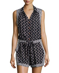 Greylin Sleeveless Button Front Basketweave Jumpsuit Navy
