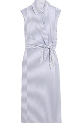J.W.Anderson Knotted Striped Cotton Shirt Dress Blue