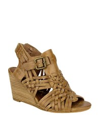 Naughty Monkey Dually Noted Leather Wedge Sandals Tan