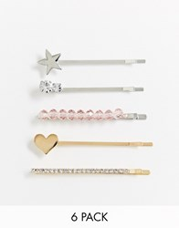 New Look 6 Pack Mixed Hair Slides In Multi Gold