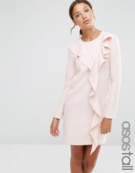 Asos Tall Long Sleeve Shift Dress With Ruffle Front Blush Pink