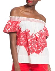 Plenty By Tracy Reese Lolli Embroidered Top Soft White