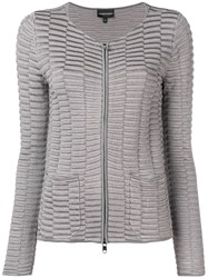 Emporio Armani Textured Zipped Jacket Grey