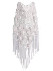 My Beachy Side Fringed Crochet Knit Poncho White