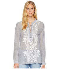 Dylan By True Grit Artisan Lace Up Stripe Long Sleeve Blouse With White Embroidery Indigo Blue