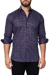 Maceoo Men's Luxor Abstract Mosaique Slim Fit Sport Shirt Multi