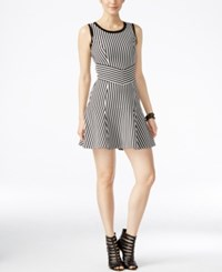 Bar Iii Striped Fit And Flare Dress Only At Macy's Black Combo