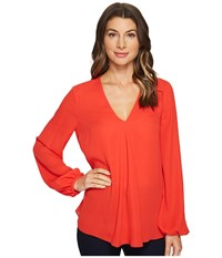Ellen Tracy Front Fold V Neck Blouse Tomato Red Women's Blouse