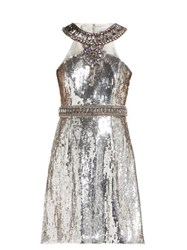 Andrew Gn Crystal And Sequin Embellished Mini Dress Silver