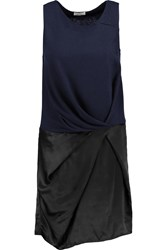 Clu Pleated Cotton And Modal Blend And Silk Mini Dress Blue