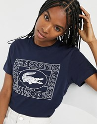 Lacoste Graphic Croc Oversized T Shirt Navy