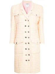 Chanel Vintage Checked Double Breasted Coat Yellow And Orange