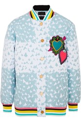 House Of Holland Heart Appliqued Matelasse Bomber Jacket Blue