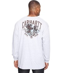 Big Tall Maddock Graphic Carhartt's Best Friend Long Sleeve Pocket T Shirt Heather Gray Men's Long Sleeve Pullover