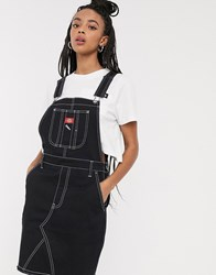 Dickies Girl Overall Dress With Contrast Stitching Black