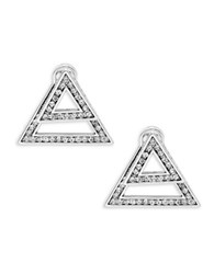 House Of Harlow Angular Front Back Earrings Silver