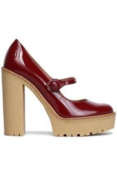 Red V Patent Leather Pumps Plum