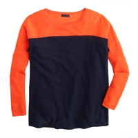 J.Crew Collection Featherweight Cashmere Swing Sweater In Colorblock Persimmon Navy