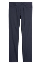 Monte Rosso Flat Front Stretch Linen And Cotton Trousers Navy