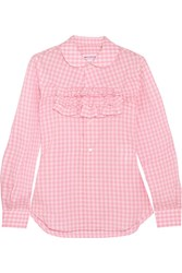 Comme Des Garcons Girl Ruffle Trimmed Gingham Cotton Poplin Shirt Pink