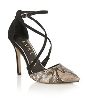 Ravel Limestone Court Shoes Snake Print